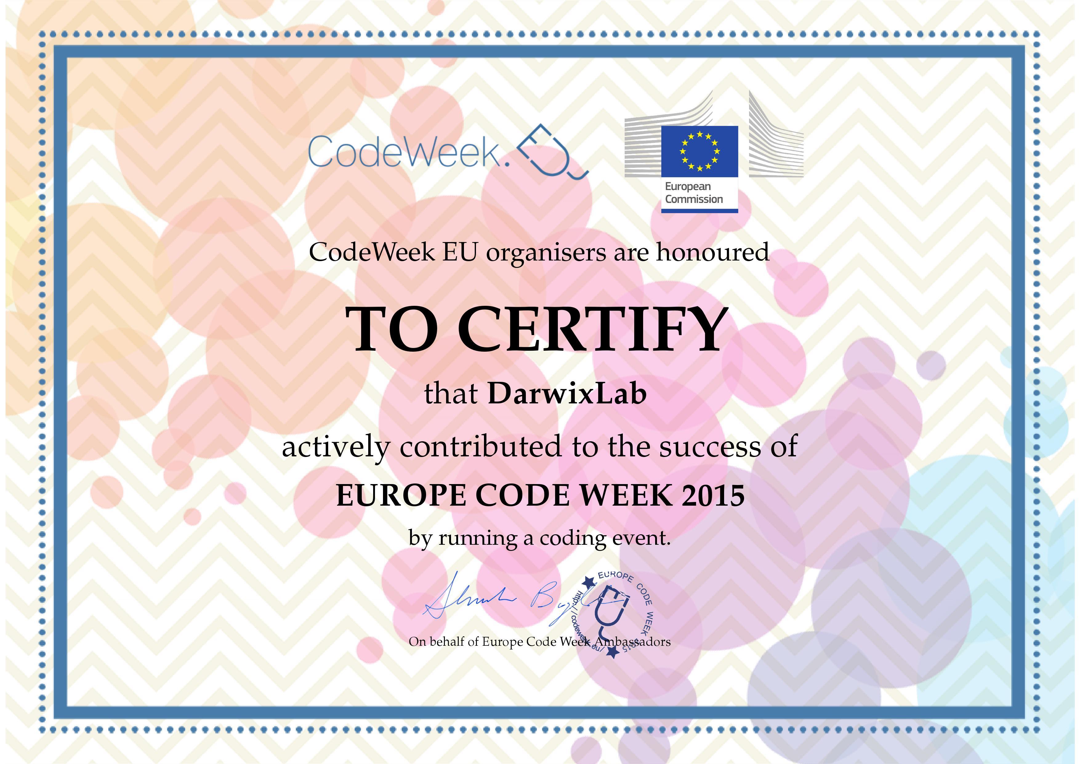 Partecipazione alla CodeWeek 2015