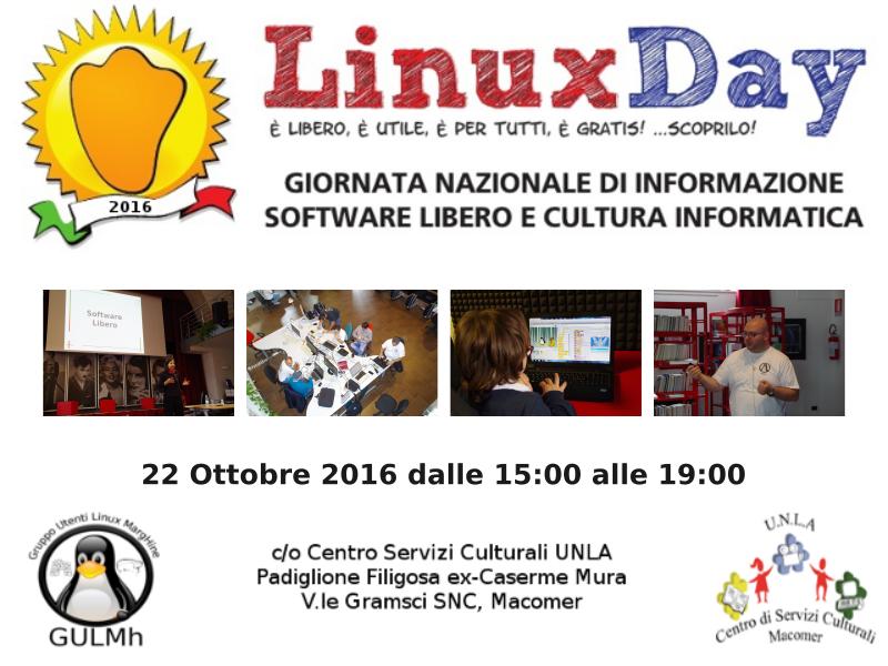 Parteciperò al Linux Day 2016 a Macomer