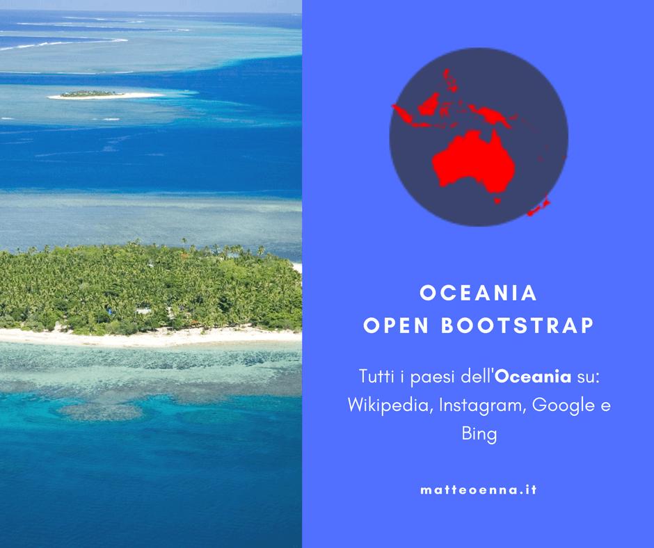Oceania Open Bootstrap – viaggio per tutti i paesi del continente